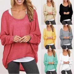 Women Ladies New Oversized Loose Long Sleeve Shirt Blouse Baggy irregular Tops Jumper Red S