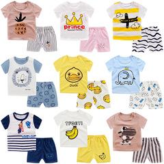 Spring and Autumn Boys and Girls Baby  Children's Cotton Underwear Set Short Sleeve Home Service 1 73 cotton