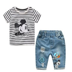 2019 New Infant Boys Girls Summer Cartoon T Shirt + Denim Shorts  2pcs Sets Children Jeans Clothing As picture 80 cotton