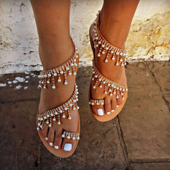 2019 Vintage Boho Sandals Women Leather Beading Flat Sandals  Beach Sandals Shoes Plus Size Brown 42