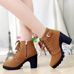 high-heeled, thick-heeled, casual women's boots, muffins, thick-soled boots, round-toed Martin boots Black 36