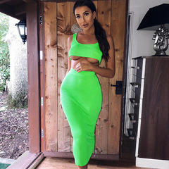 Summer 2019 New Women's Wear U-neck Short waistcoat High waistband Hip Medium-length Skirt Suit light green s