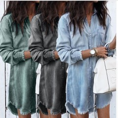 F&S Fashion Women's Long Sleeve Vintage Denim Shirts Casual Female Dress for Summer Army Green S