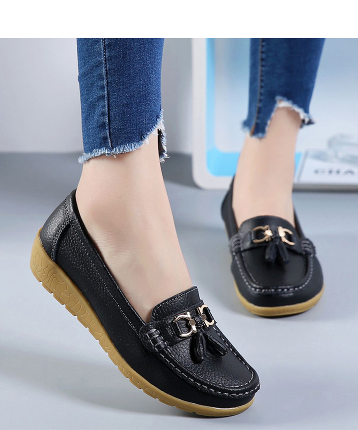 Flats Woman Cow Leather Flats Women Slip On Women's Loafers Metal Decoration Large Size 35-44 black 35