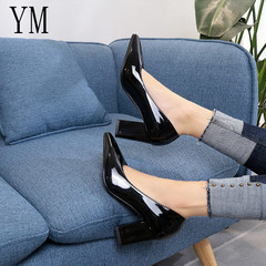 Women Pumps Lady Patent Leather Thick With Autumn Pointed Single Female Sandals Big 33-43 Black 35