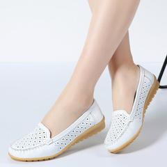 Women Fats Shoes Women Genuine Leather Shoes Woman Cutout Loafers Slip On Ballet Flats Ballerines Beige 42