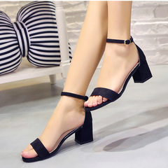 Women Shoes Gladiator Buckle Strap Cover Heel Chunky Ladies Sandals For Woman Ankle Strap Footwear black 36