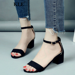 Women Shoes Gladiator Buckle Strap Cover Heel Chunky Ladies Sandals For Woman Ankle Strap Footwear gray 35