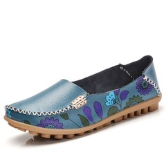 Women Genuine Leather Shoes Slip on Ballet Flats Ballerines Flats Woman Shoes Moccasins Loafers blue 41