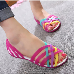 Women Shoes Rianbow Summer Sandals Casual Ladies Slip on Woman Candy Color Peep Toe Beach Shoes Rose red 36