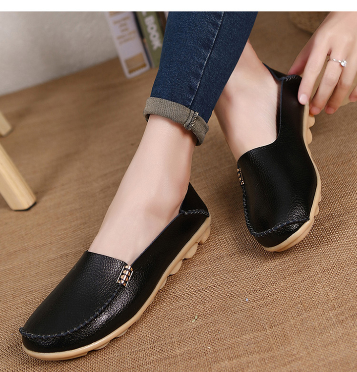 da15145b297f Women Loafers Soft Moccasins With Genuine Leather Shoes Woman Plus Size Flat  Shoes Oxford black 39