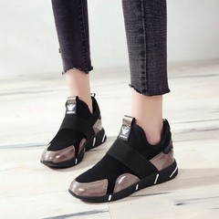 Fashion Casual Shoes Woman Breathable Sneakers Female Platform Shoes silvery 36