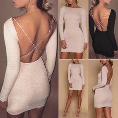 Fashion Women Summer Long Sleeve Evening Party Mini Dress Sexy Bodycon Backless Club Party Dresses s Beige