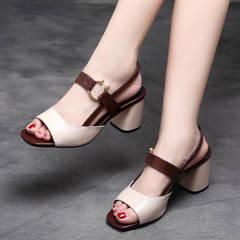 Women's Sandals Fish Mouth Single Shoes Slip-On Casual Stiletto Cow Ladies Shoes Leisure Sandals beige 40