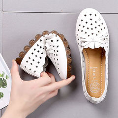 Women Flats Shoes Ballet Flat Sneakers Genuine Leather slip on Moccasins ladies Boat Ballerina white 37