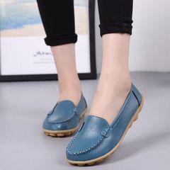 b1d5a1136c3d New Genuine Leather Women Shoes Causal Soft Woman s Flats Female Moccasins  Nurse shoes blue 35