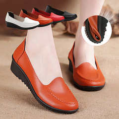 Boat shoes for women Genuine leather womens shoes Hard-wearing Soft Flat shoes ladies Spring orange 36