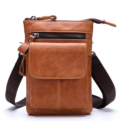 Genuine Leather Cowhide Messenger Shoulder Crossbody Waist Belt Bag Pack Travel Motorcycle Bag brown one size