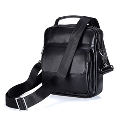 Genuine Leather Business Travel Bag Shoulder Bags Messenger Briefcase Cross Body Handbag for Men black One Size
