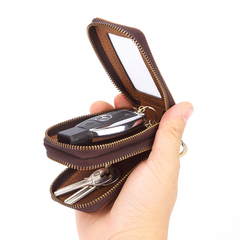 Two-Sides Mini Genuine Leather Double Zipper Car Key Case Holder Wallet Key Bag
