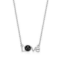 Love Design Projectable Pendant 100 Languages for I Love You Micro Carved Inside Shadow Necklace silver one size
