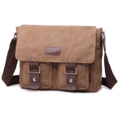 Canvas Messenger Bag Shoulder Bags for 13 -13.3 inch Laptop School Satchel Work Briefcase for Men brown one size