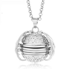 Expanding Photo Locket Necklace Ball Locket Wing Design with Long Chain for Women silver one size