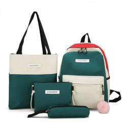 4PCS Canvas Bags Set Backpack + Shoulder Bag + Purse + Pen Pouch Case for Girls Women Green Large