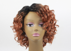 Women's wig African small curly short curly fluffy wavy wig set 1B# Short hair
