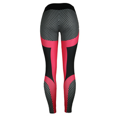 Geometric honeycomb digital printed jacquard bottom pants high waist high elastic sports Yoga Pants red s