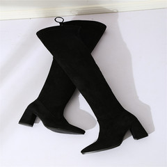 Warm thin legs, elastic velvet and thicker boots black 35