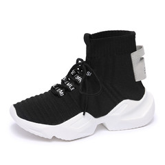 Fashion elastic boots, socks, sneakers and women's shoes black 35