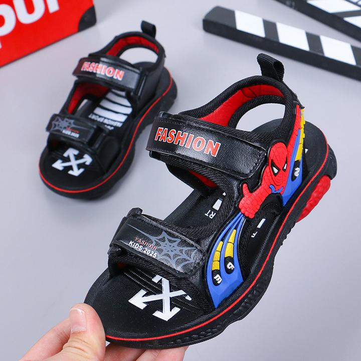New Fashion Children Spider-Man Neutral Sandals Black/Blue in 2019 black 26
