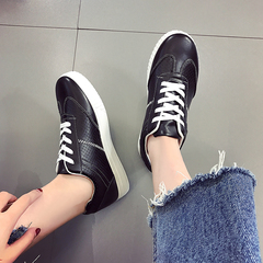 19 New fashion flat sole shoes round head low Pu pure white/black/yellow black 35