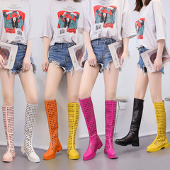 New fashionable comfortable women's boots, sandals, skid-proof PU over knee, multi-color black 35
