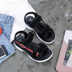 New fashion sandals, beach shoes, high heel PU magic sticker black, white and red blck 35