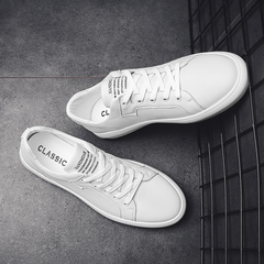 Spring New White Shoes White Leisure Leather Slips Handmade Shoes Black and White white 39