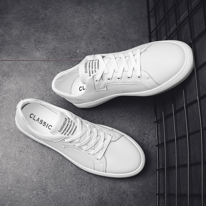 Spring New White Shoes White Leisure Leather Slips Handmade Shoes Black and White black 42