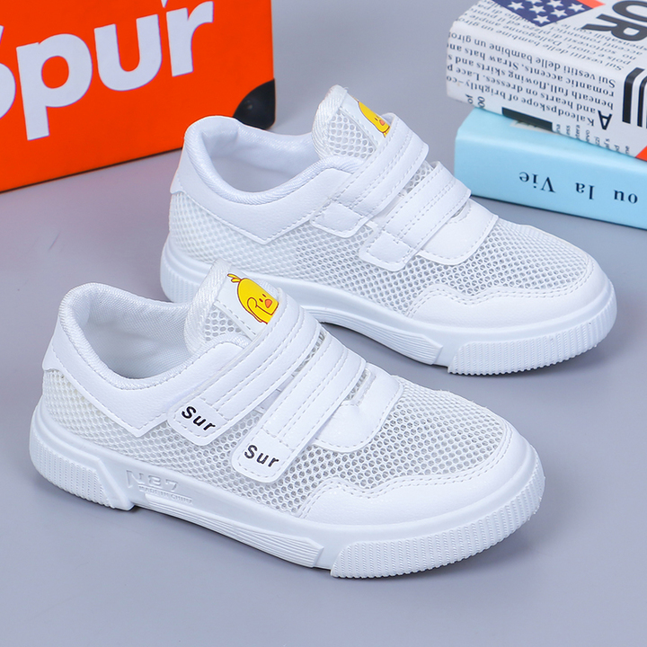 Fashion summer breathable mesh children's sneakers light sneakers boys and girls white pink white 26