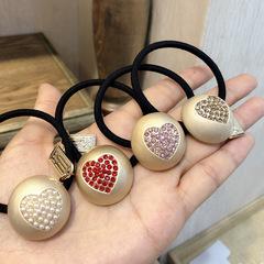 New Flash Diamond Peach Heart Fair Ring Korean Edition Cute and Simple Baitao Women's Head Rope 4