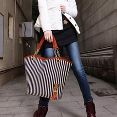 Woman women Girls Striped tassels Handbag PU Leather Women Shoulder Bag Female Bag black and white one size