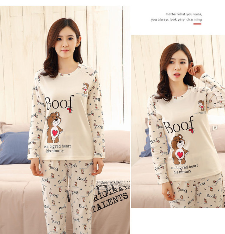 Pajama women's cotton long sleeve period home clothing to the spring and summer beige M