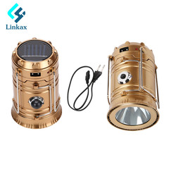 Portable solar flashlight rechargeable lamp for emergency lighting for hiking blue 6W