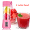 2 cutter head Charging Blender Whisk Juicer, Meat Grinder, Food Mixer Portable Small Juice Extractor pink 2 cutter head