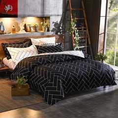 Hot sale bedding Four Piece Long Staple Cotton Duvet Cover sets multicoloured Black and white plaid 1m wide