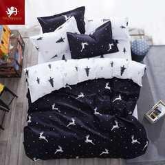 Hot bedding black art pattern Four Piece Long Staple Cotton Duvet Cover sets multicoloured Black and white art 1m wide