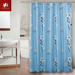 Hot shower Curtain Waterproof Floral Printed Bath Curtains with Hooks Eco-friendly Home Decoration Blue 120*180cm