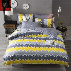 Hot 4Pcs Bedding Set (1 Duvet cover+1 Bed sheet+2 Pillow covers) Home stripe Home stripe 1.0m wide