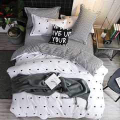 Hot 4Pcs Bedding Set (1 Duvet cover+1 Bed sheet+2 Pillow covers) Love stripe Love stripe 1.0m wide