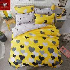 Hot 4Pcs Bedding Set (1 Duvet cover+1 Bed sheet+2 Pillow covers) heart Momentum heart Momentum 1.0m wide